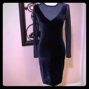 Navy blue velvet dress w sheer long sleeve dress